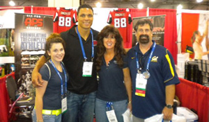 Amanda Yates, Tony Gonzalez, Tight End for the Atlanta Falcons; Rita Yates, and AAPSM Past President Tim Dutra stop for a photo at the recent NATA Annual Meeting in Philadelphia, PA
