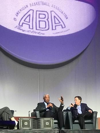 Julius Erving and former Spirits of St. Louis radio play-by-play announcer, Bob Costas, at the 50th Anniversary Reunion of the ABA in Indianapolis on April 7th, 2018