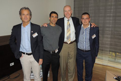 Photo L-R: Ludger Gerdesmeyer, MD, PhD, Amol Saxena, DPM, John Grady, DPM and Stuart Metcalfe, FPodA, FCPod (S)