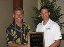 Dr. Doug Richie receiving the Richard Schuster Award in Hawaii
