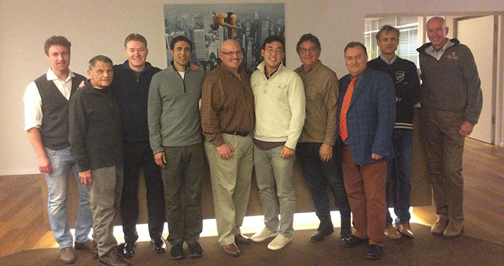 Pictured from left to right: Hans Gollwitzer, MD, DPMs Stan Zusman, Todd Obrien, Amol Saxena, Warren Bevard, Andrew Yun, Lou Galli, Mirek Harvrdova, MD, Ludger Gerdesmeyer, MD, & John Grady, DPM