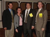 Current AAPSM President Matt Werd, DPM (l) along with AAPSM Secretary Treasurer Karen Langone and AAPSM Director Jamie Yakel, DPM pose with Robert Duggan, DPM (r) after his informative lecture during the AAPSM track at the 2008 SAM meeting in Orlando.